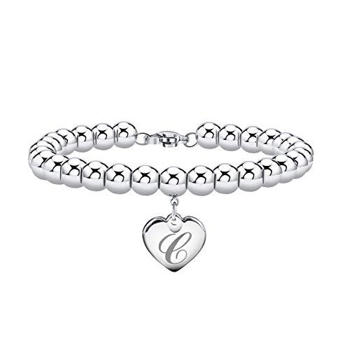 Initial Bracelet for Girl Heart Tag Bead Bracelet Letter C Bracelets Birthday Gifts