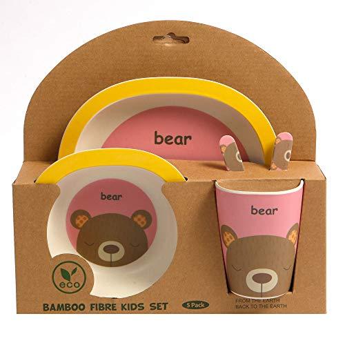 ORNAMI Servizio in bambù 5-Pezzi per Bambini, Design Orso - Il Servizio per Bambini Include Un Piatto in bambù, Posate, Una Ciotola e Un Bicchiere - Ecologico, Senza BPA e Sicuro in lavastoviglie