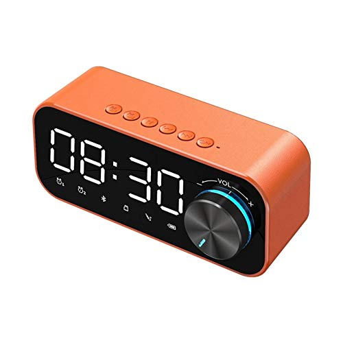 DNAMAZ Bluetooth Reloj Despertador Altavoz Pantalla Digital Reloj de Alarma LED Subwoofer inalámbrico Música Reproductor de Mesa Decoración del hogar (Color : Orange)