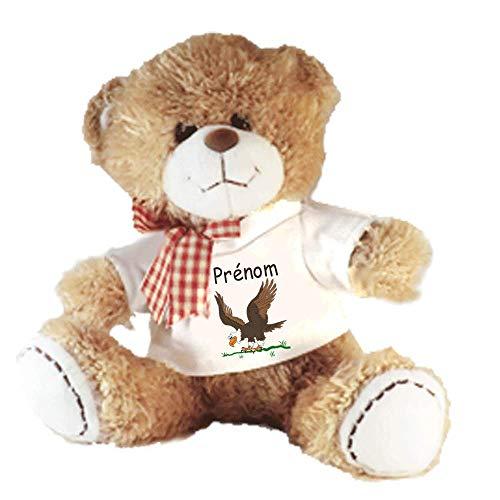 Peluche Nounours avec un Tee shirt Aigle Personnalisable avec un Prénom Exemple Arnold