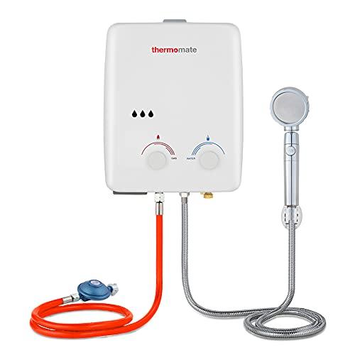 Gaswarmwasserbereiter, Thermomate AZ132 5L Tragbarer Propan-Warmwasserbereiter, Durchlauferhitzer ohne Tank, Verwendung 10kW, 50mbar für Außenduschen, Pferde, Camping, Wohnmobile