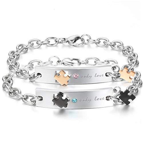 JewelryWe Schmuck 2pcs Herren Damen Armband, Lieben Freundschaftsarmband, Only Love & Puzzle Design, Zirkonia Diamant Edelstahl, Gold Schwarz Silber