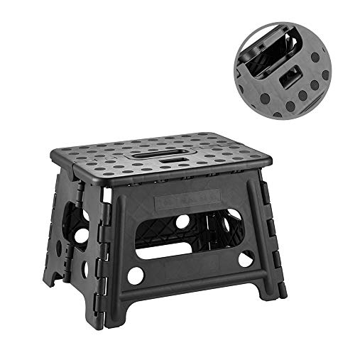 MOSILVERON SelfLock Folding Step Stool with Locking Sturdy Enough to Support Adults and Safe Enough for Kids Opens Easy with One Flip 1 Pack Black