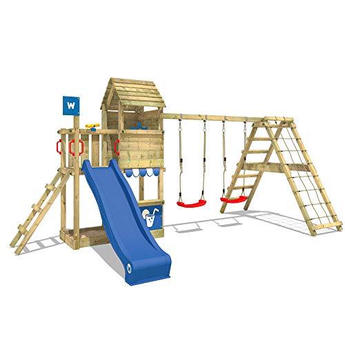 WICKEY Spielturm Klettergerüst Smart Port mit Schaukel & blauer Rutsche, Kletterturm mit Sandkasten, Leiter & Spiel-Zubehör