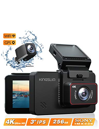 """Kingslim D4 4K Dual Dash Cam with Built-in Wi-Fi GPS, Front 4K/2.5K Rear 1080P Dual Dash Camera for Cars, 3"""" IPS Touchscreen 170° FOV Dashboard Camera with Sony Starvis Sensor, Support 256GB Max"""