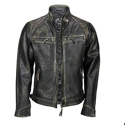 Chaqueta de piel auténtica estilo motero vintage y con cremallera para hombre de la marca Xposed, color marrón lavado Negro Negro y beige. XXXXL
