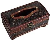 Leileixiao TLF-FF - Caja de pañuelos para pañuelos (21 x 12 x 11 cm), diseño elegante de madera envejecida hecha a mano antigua, hecha a mano, para uso diario, estilo retro