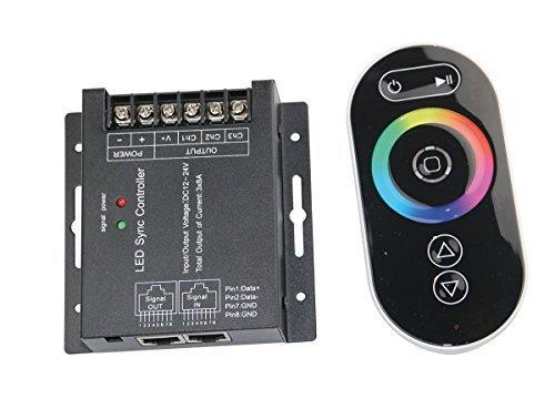 Touch-Dimmer RGB Fernsteuerung 12-24V für mehrfarbige LED Streifen Module uvm. (3x 8A) - 25A Funk-Controller mit LAN Anschluss zur synchronen Steuerung