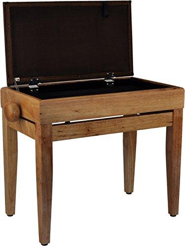 Steinbach Klavierbank mit Notenfach in Natur poliert mit braunem Stoffbezug