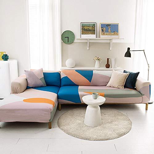 Funda Sofa 4 Plazas Chaise Longue Rosa Fundas para Sofa con Diseño Elegante Universal,Cubre Sofa Ajustables,Fundas Sofa Elasticas,Funda de Sofa Chaise Longue,Protector Cubierta para Sofá
