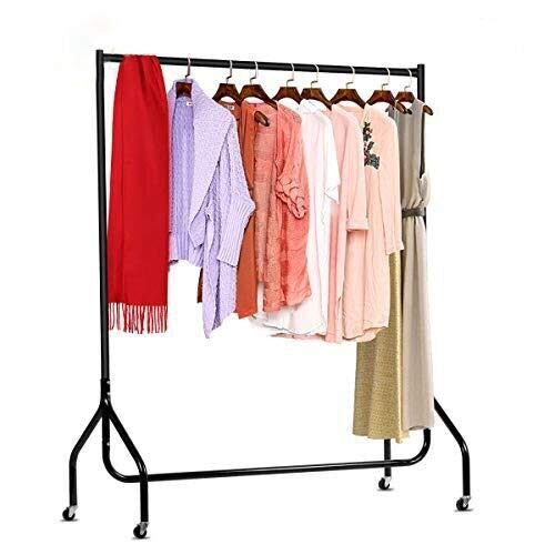DOSLEEPS Clothes Rails 4FT Clothing Rail on Wheels Metal Heavy Duty Carment Hanging Rack Coat Display Stand For Bedroom, Living Room (4ft)