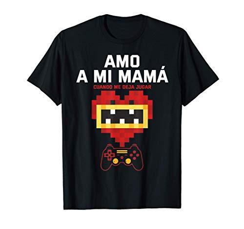 Gamer Regalo divertido amo a mi Mamá videojuego Camiseta