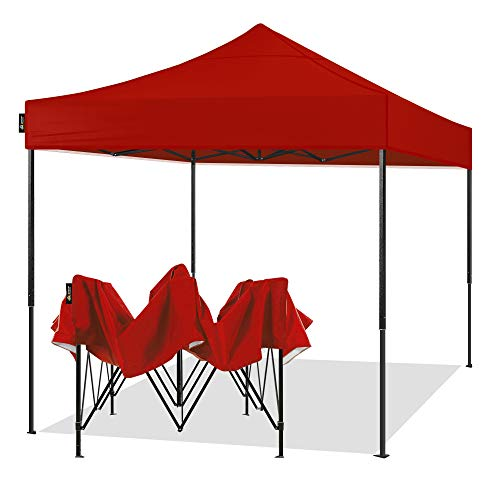 AMERICAN PHOENIX 10x10 Pop Up Canopy Tent Portable Instant Adjustable Easy Up Tent Outdoor Market Canopy Shelter (10'x10' Black Frame, Red)