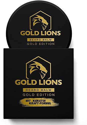 Gold Lions® Bartwachs Gold Edition I Beard Balm mit Keratin-Kraftformel - Bart balsam fördert gesunden Bart Wachstum I 100{1c41f0e78b3f333cd106b930f0bd4d4f803df4ad9e75b34b2edd106e078f535e} natürlich I Bartpomade I harte Konsistenz (1 x 60 ml)
