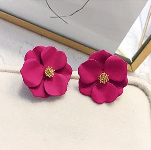2 Paia di Orecchini A Forma di Fiore Grande con Vernice Spray di Nuovo Stile per Le Donne Accessori di Gioielli Dolci Eleganti di Moda Estiva
