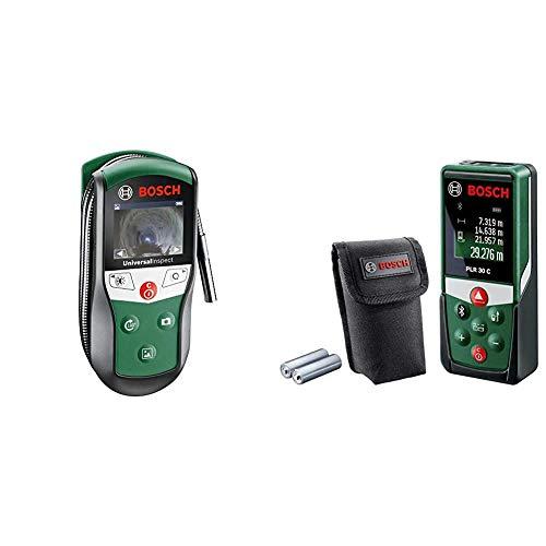 Bosch Inspektionskamera Universalinspec (Kamerakopf-Ø: 8mm, Kabellänge: 0,95 m) & Entfernungsmesser PLR 30 C (mit App-Funktion, Messbereich: 0,05–30 m, Genauigkeit: ± 2 mm, im Karton)