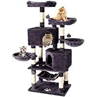 Multi-Level Cat Tree Tower Condo with Cat Scratching Post Cozy Hammock Basket