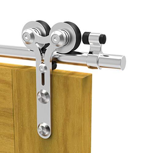 TSMST 200cm/6.6ft Edelstahl Laufschiene Schiebetürbeschlag für Einzelne Holztüren, Reibungslos und Leise (Y-Form-Aufhänger)