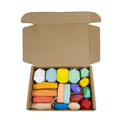 LOVOICE Montessori - Piedras de equilibrio de madera apilables, juguete de madera, juguete de meditación colorido, piedra balancier apilable, juego de construcción para niños y decoración del hogar