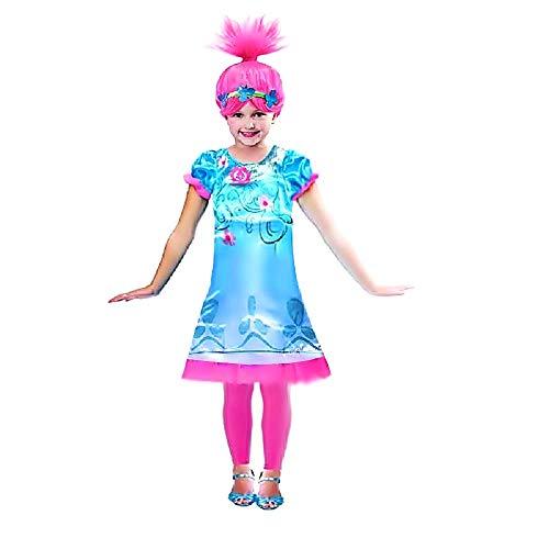 Poppy trolls kostuum en pruik - poppy - meisje - vermomming - carnaval - halloween - cadeau-idee voor kerst en verjaardag - maat 120-3/4 jaar cosplay