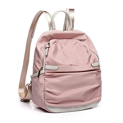 Abbacino mochila mujer de nylon con cremallera color rosa palo