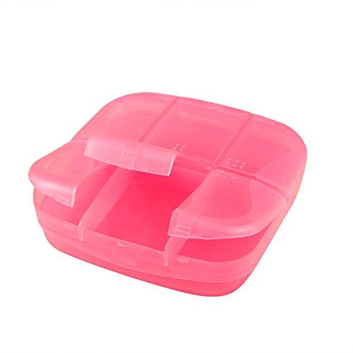 Pastillero con Braille ROSENICE Caja Organizador de Pastillas 6 Compartimentos (Rosa)