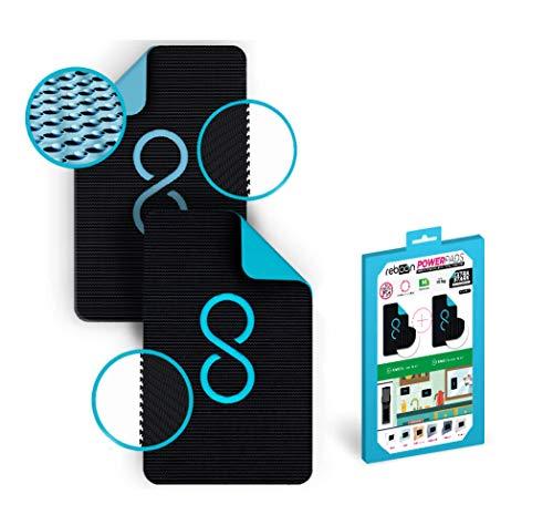 POWERPAD BLACK | SET M >> 2x HAKEN + BOX [M: 92x55mm] || Befestigen ohne Bohren - stärker als doppelseitiges Klebeband, wiederverwendbar, kein Kleben, kein Werkzeug, innen/außen