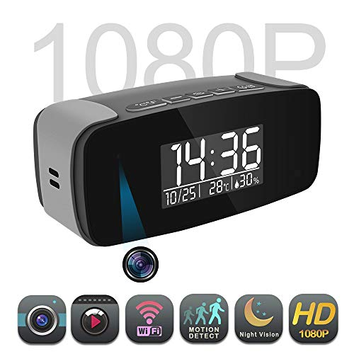 Alarm Clock with Cloud Camera HD 1080P, Wi-Fi Live Streaming Video Recorder Wireless IP Surveillance Camera for Indoor Security Use.