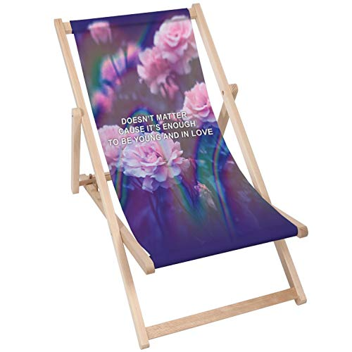 Merino Wool Tumbonas Sillón Plegable Silla Plegable balcón Silla Tradicional De Madera Ajustable Beach Garden Pool Lounge Tumbona de Exteriores Tumbona Plegado Sillas Jardín (1, To Be Young)
