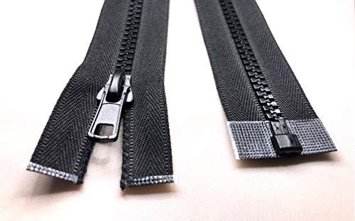 Robuster Reißverschluss, alle Größen, Nr. 5, Kunststoff-Zähne, offenes und geschlossenes Ende, Schwarz, 27.1 inch - 69 cm (Open End)