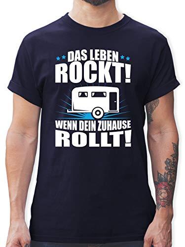 Hobby - Das Leben rockt! Wohnwagen weiß - XXL - Navy Blau - Tshirt Herren Wohnwagen - L190 - Tshirt Herren und Männer T-Shirts