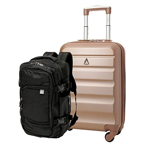 Aerolite Ryanair Max Cabin Luggage Bundle - 55x35x20cm ABS Hard Shell Carry On Suitcase for Priority Boarding + 40x20x25 Hand Luggage Backpack Holdall Rose Gold