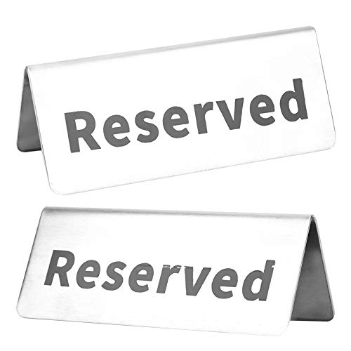 Liukouu Letters Marks Letrero de Mesa Reutilizable Letrero de Mesa de Acero Inoxidable Tipo V fácil de Limpiar, Letrero Reservado, Silver Hotels Bodas para Eventos de Catering en(Reserved)