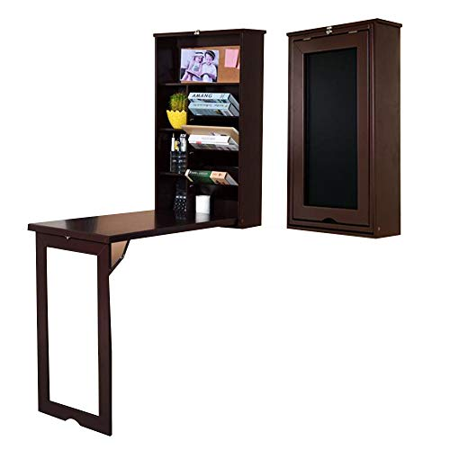 HAIZHEN Mesas de sofá plegables para montaje en pared, escritorio plegable con estantes de almacenamiento, mesa plegable plegable de 53 x 87 x 17 cm, color blanco, marrón (color: marrón)