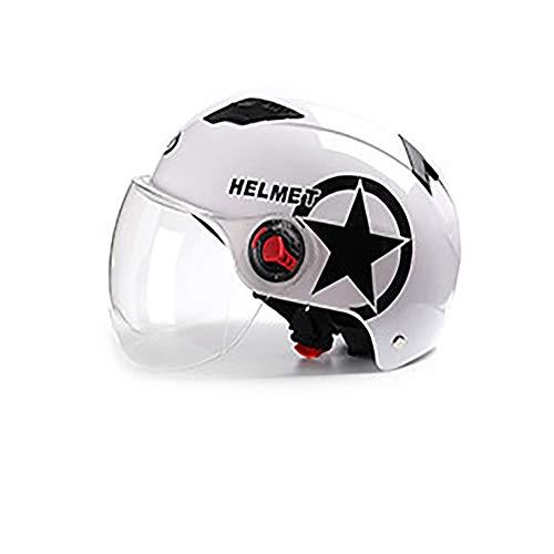 LALEO Offenes Motorradhelm, Jet-Helm Retro mit Visier Schnellverschluss, Roller-Helm, Scooter-Helm, Damen und Herren ECE Genehmigt Schwarz, Rot, Weiß(55-62cm),White,brownlens
