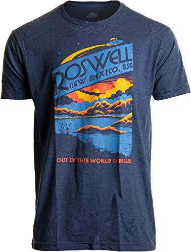 Roswell, NM Tourism | Funny Alien Extraterrestrial UFO Saucer Men Women T-Shirt-(Adult,L) Vintage Navy