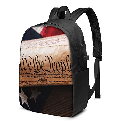 Laptop Backpack with USB Port United States Constitution Rolled, Business Travel Bag, College School Computer Rucksack Bag for Men Women 17 Inch Laptop Notebook