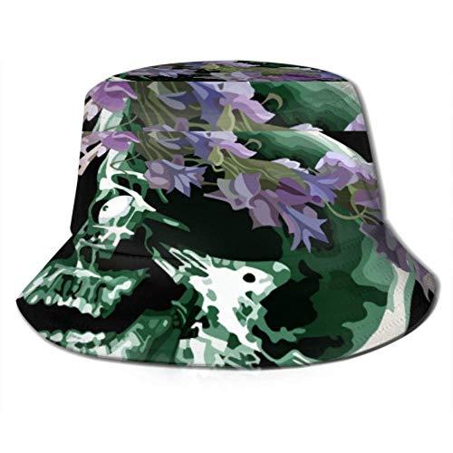 DCVFB Gorra de Pesca de Pescador Unisex al Aire Libre, cráneo de Dibujos Animados con una Corona de Flores Vector Verano Pesca Viaje Sol Gorra de Pescador Empacable Sombrero de Sol Sombrero de Cubo,