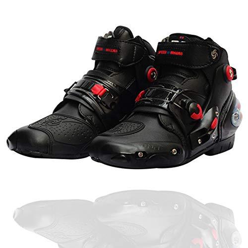 Kyikezz レーシングブーツ 強化防衛性 バイク用靴 バイクシューズ 耐衝撃 ライディングシューズ 耐摩擦 バイクブーツ 通気 自由調整 バイク用品 (ブラック, 41(25.5cm))