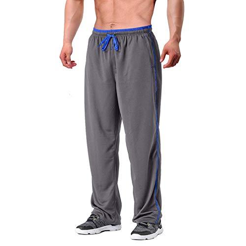EKLENTSON Mens Open Bottom Athletic Pant Mesh Line Working Joggers Bottom Men Lightweight Zip Pockets