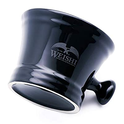 WEISHI Black Shaving Soap Bowl with Handle, Mug for Shave Soap and Cream by WEISHi