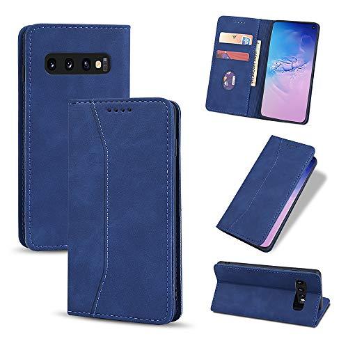 UEEBAI Funda con tapa para Samsung Galaxy S9, estilo retro, funda de piel sintética, protección contra caídas, suave TPU, con tarjetero, función atril, cierre magnético, color azul