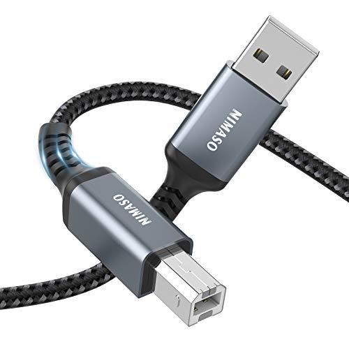 NIMASO Cavo Stampante USB 2.0, 3M Cavo USB Tipo A Maschio a Tipo B Maschio per Stampante HP, Canon, Lexmark, dell, Epson, Xerox, Samsung, Panasonic, Scanner, Lexmark ecc.