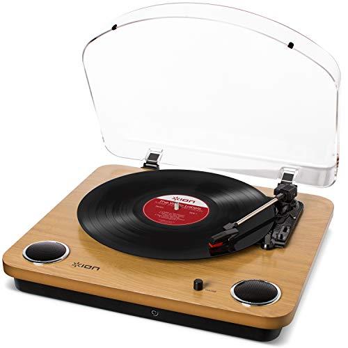 ION Audio Max LP - USB Plattenspieler Retro mit Lautsprecher, 3 Abspielgeschwindigkeiten, Konvertierungssoftware Vinyl zu MP3 für MAC und PC, Holzfinish