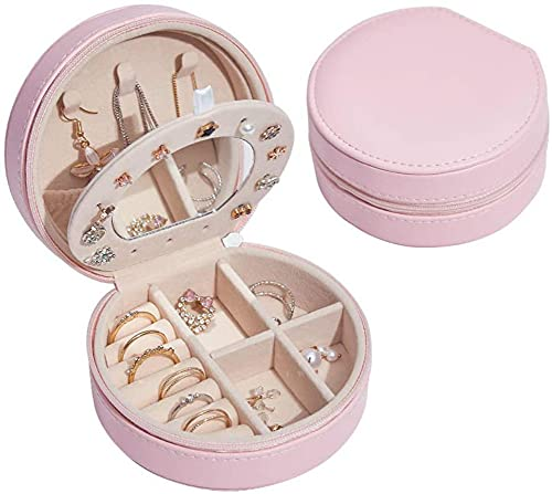 Small Jewelry Box, Mini Travel Jewelry Organizer Storage, Small Portable Jewelry Storage Case for Earrings Necklaces Rings (White)