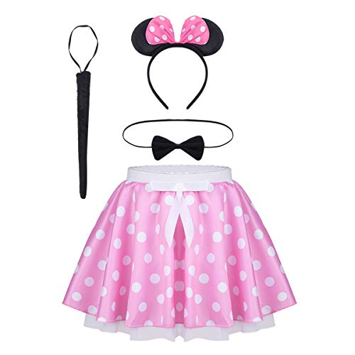 iEFiEL Mädchen Kostüm Mini Maus Polka Dots Tutu Minirock mit Ohren Harreif, Schwanz, Fliege für Geburtstag Karneval Fasching Cosplay Kostüm Verkleidung Rosa 92-98