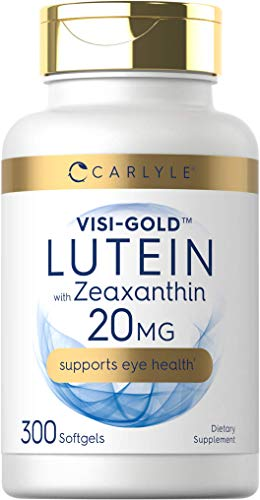 Lutein and Zeaxanthin 20mg   300 Softgels   Eye Health Vitamins   Non-GMO & Gluten Free Supplement   by Carlyle