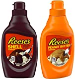 Reese's Chocolate & Reese's Peanut Butter Toppings 2 Set / 7.25oz & 7oz. Perfect combo for any dessert or ice cream topping.