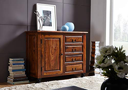 MASSIVMOEBEL24.DE Kolonialart Sheesham Massivmöbel lackiert Sideboard Palisander vollmassiv Möbel massiv Holz New Boston #208