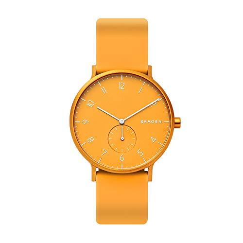Skagen Unisex Erwachsene Analog Quarz Uhr mit Silikon Armband SKW6510